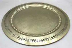 Golden Copper Round Decorative Plate, For Decoration