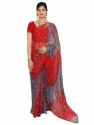 Ladies Red Designer Silk Saree