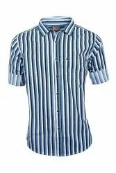 Men Blue Striped Casual Shirts