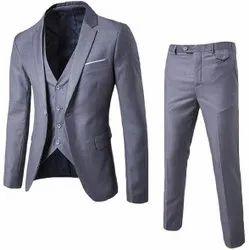 Grey Plain Mens Formal Wear Three Piece Suit, Size: 36-44