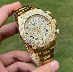 Golden Rolex Diamond Crono Automatic Watch, Size: 42 Mm