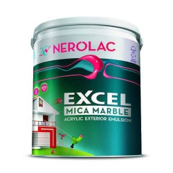 White Nerolac Excel Mica Marble Acrylic Exterior Emulsion Paint, Packaging Size: 10 Litre