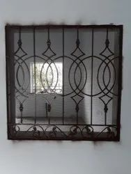 Paint Coated Wrought Iron Window Grill, For Residential, Square