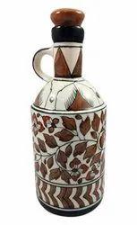 Ocean Brown Ceramic Bottle with top cap, Use For Storage: Multipurpose, 1 Litre