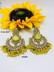 Diamond, Brass Mahendi Monalisa Long Earrings
