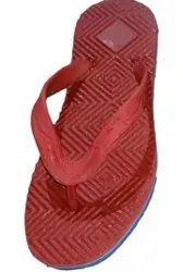 Red Mens Embossed Slippers