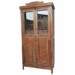 Matt Brown Wooden Glass Door Cabinet, 2