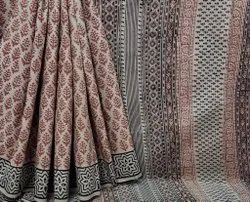 Shiv Printers Formal Wear Pure Printed Hand Block Cotton Saree, 6.3 m (with blouse piece)