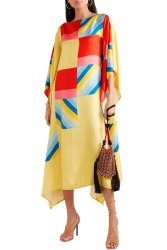 Outdoor Wear Digital Printed Striped Pattern Satin Silk Kaftan