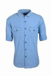 Denim Shirts For Men Double Pocket Collar Neck
