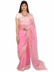 Pink Pure Chiffon Sarees