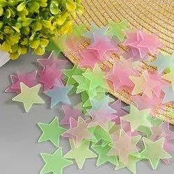 Rangoli Multicolor Night Glow Plastic Sticker, Packaging Type: 100 star in one Pack, Packaging Size: 15 cm