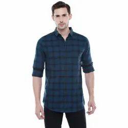 Leports Cotton Men Casual Check Shirt, Size: Xl