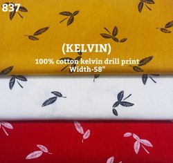 Kelvin 100% cotton drill print shirting fabric
