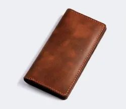 Brown Leather Long Bifold Wallet