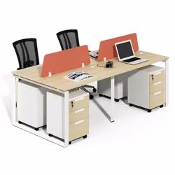 wooden Brown Metal Legs Workstations, For Office, Seating Capacity: 4