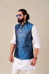 Rajanyas Men Cobalt Blue Kimkhab Half Jodhpuri Jacket, Size: Large