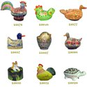 Assorted Paper Mache Handmade Hand Painted Colorful Animal Shape Keepsake Boxes