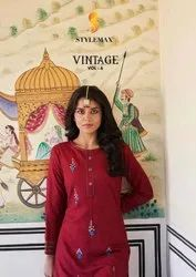 Stylemax Vintage Vol 6 Rayon Embroidered Kurti With Bottom Catalog