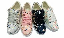 Party Wear Lace Up Ladies Printed Synthetic Foam Casual Shoes, Size: 36 Ind
