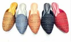 Partywear Synthetic Leather Embroidered Mules, Size: 36 Ind