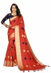 Ofline Selection Embroidered Woven Daily Wear Jacquard Saree, With Blouse Piece, 5.5 M ( Separate Blouse Piece)