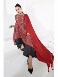 Janasya Women's Maroon Poly Muslin Kurta With Palazzo and Dupatta(J0233)