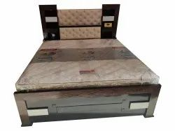 Brown,White Wooden Rectangular Double Bed With Light, Size: 72x70x20