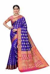 Ofline Selection 6.3 m (with blouse piece) Traditional Wear Banarasi Silk Saree