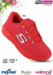 Casual Wear Lace Up Kids Red Shoes, Article: Audi-4, Size: 5 X 10