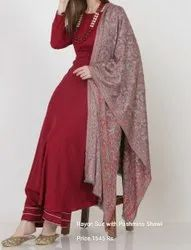 Rayon Suit with Pashmina Shawl