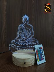 Shayona Budha Color 3D Illusion LED Acrylic Table Top Night Lamp