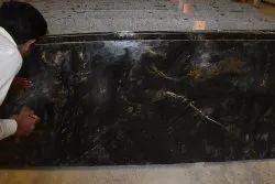 Polished Thick Slab Alaska Black Granite, Thickness: 15-20 mm
