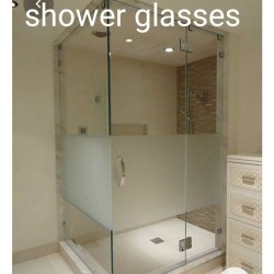 Hinged Plain Tempered Shower Glass, Thickness: 12 Mm