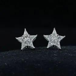 14k White Solid Goldpie Cut Diamond Studs,g Color & Vs Clarity White Diamond Studs