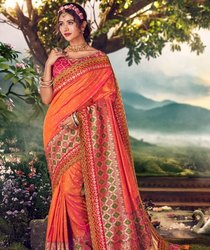 Mangaldeep Party Wear Ladies Orange Silk Saree, Without blouse piece, 5.5 m (separate blouse piece)