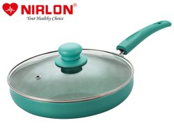 Nirlon Non-stick Fry Pan Galaxy Induction Base (With Glass LiD)