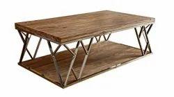 Brown Rectangular Wooden Designer Center Table, For Home,Restaurant
