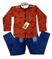 Printed Casual Wear Brick Red Shirt Jeans Pant Set