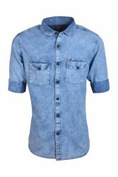 Denim Shirts Double Pocket Collar Neck