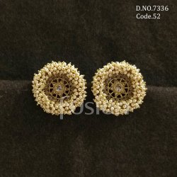 Fusion Arts Polki Pearl Stud Earrings
