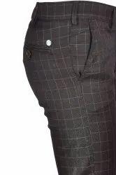 Ring Colours Casual Wear Mens Black Check Cotton Lycra Pant