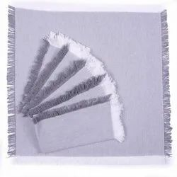 AJS Living Dinning Napkins Pure Cotton Table Napkin Cloth For Dinner, Silver, (set Of 6)