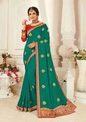 Rama Color Designer Silk Saree