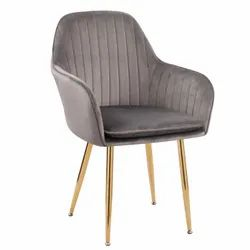 Velvet Accent Chair with Golden Legs