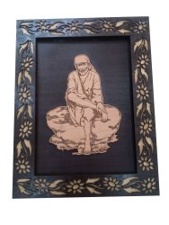 MDF Sai Baba Engraved Photo Frame, For Home, Size: 14 X 8 Inch