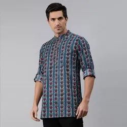 Janasya Men's Blue Cotton Kurta(MEN5011)