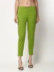 Plain Green Women Cotton Pants