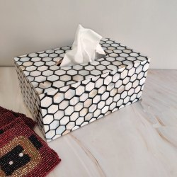 Customised Mother Of Pearl Honey Comb Patter Tissue Box Cover