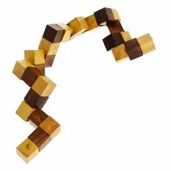 DNU Handmade Wooden Complex Snake Cube Puzzle Game